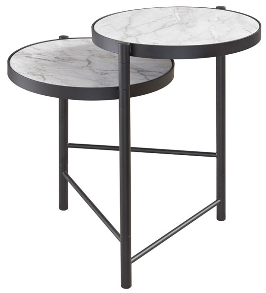 Ashley Furniture Plannore Black White Round End Table T148-6