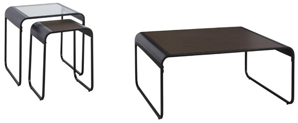 Ashley Furniture Larzeny Brown Black 3pc Occasional Table Set T151-13