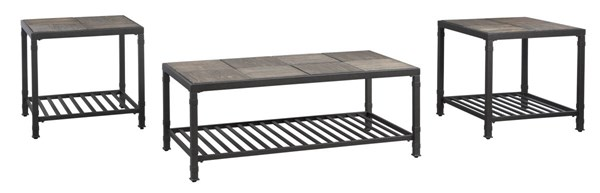 3 Chelner Contemporary Dark Gray Metal Wood Occasional Table Sets T183-13