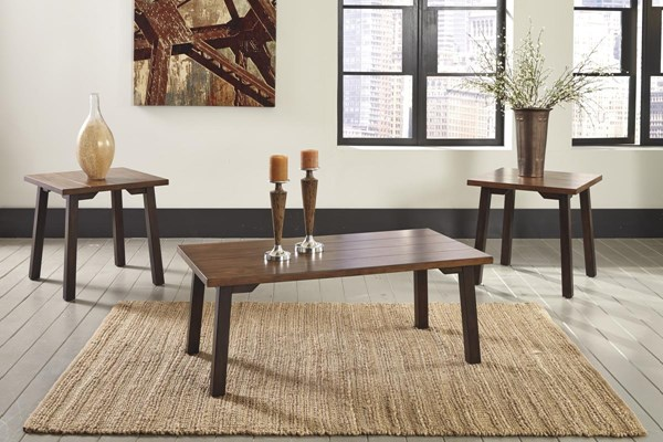 Latoon Vintage Casual Two tone Brown Occasional Table Set (3/CN) T205-13