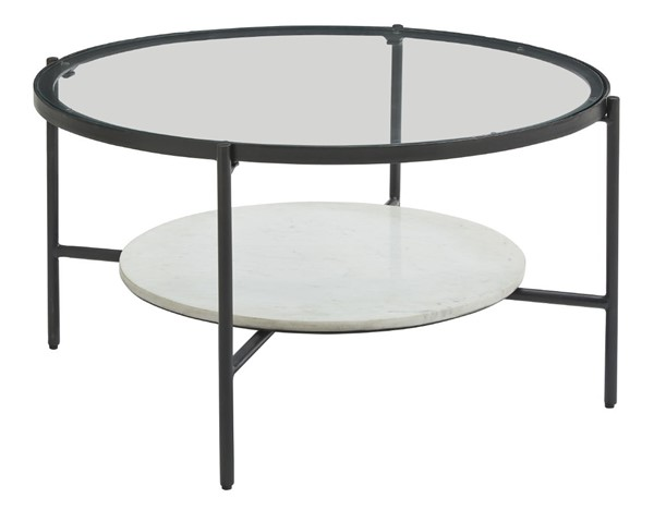 Ashley Furniture Zalany Black White Round Cocktail Table T245-8