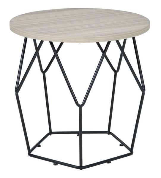 Ashley Furniture Waylowe Light Brown Black Round End Table T274-6
