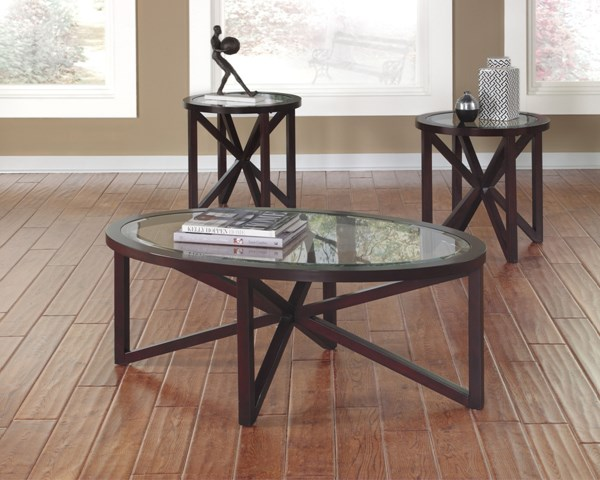Sleffine Dark Brown Wood 3-In-1 Pack Occasional Table Set T291-13