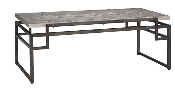 Isman Contemporary Silver Black Wood Metal Rectangular Cocktail Table T332-1