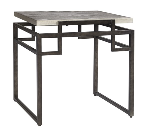 Isman Contemporary Silver Black Wood Metal Square End Table T332-2