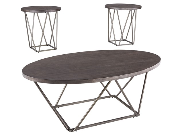 Ashley Furniture Neimhurst Dark Brown 3pc Occasional Table Set T384-13