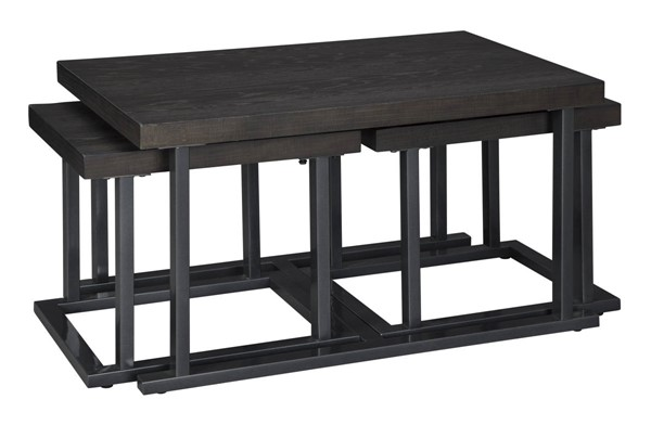 Ashley Furniture Airdon Gray Cocktail Table With 2 Stools T394-1