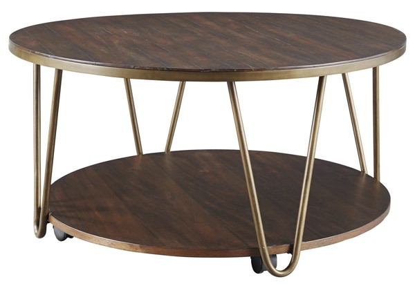 Ashley Furniture Lettori Brown Round Cocktail Table T395-8