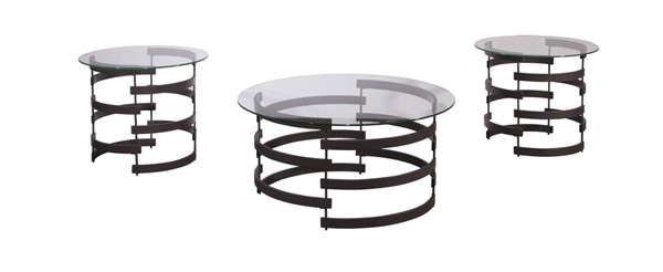 Kaymine Contemporary Black Metal Glass Occasional Table Set (3/Cn) T408-13