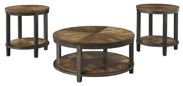 Ashley Furniture Roybeck Light Brown Bronze Occasional Table Set T411-13