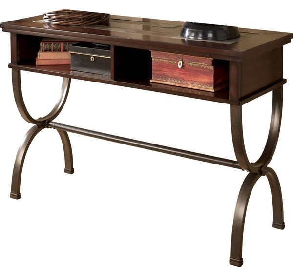 Zander Traditional Medium Brown Metal Wood Sofa Console Table T415-4