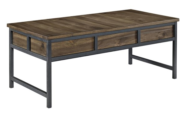 Monilee Contemporary Brown Wood Metal Rectangular Cocktail Table T456-1