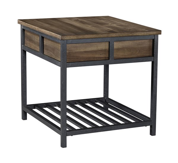 Monilee Contemporary Medium Brown Wood Metal Square End Table T456-2