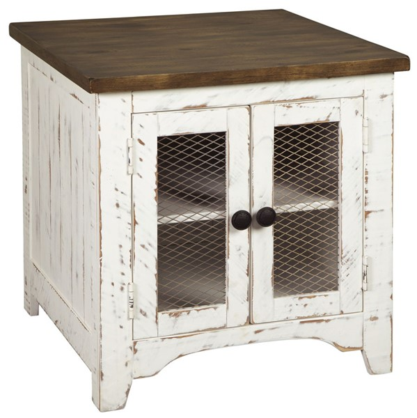 Ashley Furniture Wystfield White Brown Rectangular End Table T459-3