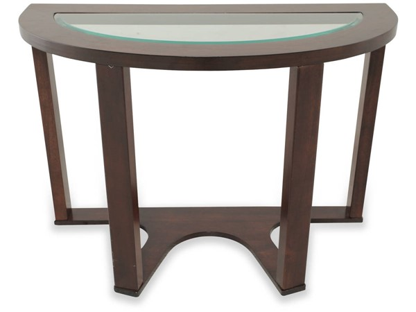 Marion Contemporary Dark Brown Metal Glass Sofa Table