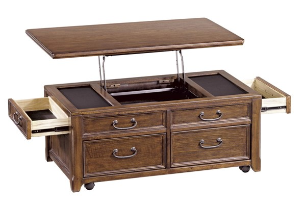 Woodboro Traditional Dark Brown Wood Lift Top Cocktail Table T478-20
