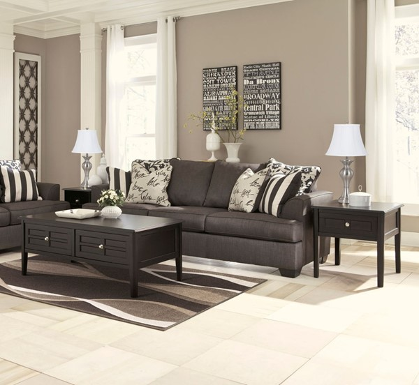 Ashley Mallacar Piece Coffee Table Set In Black T: Ashley Furniture Henning Black Rectangle 3pc Coffee Table