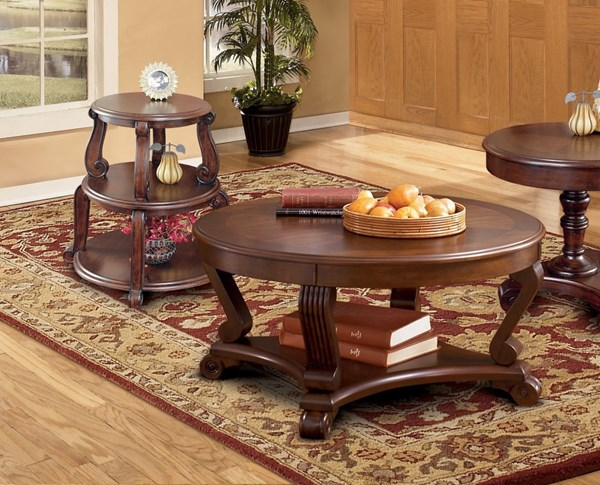 Brookfield 3 pc Coffee Table Set w/Drum Tables T496-Set1