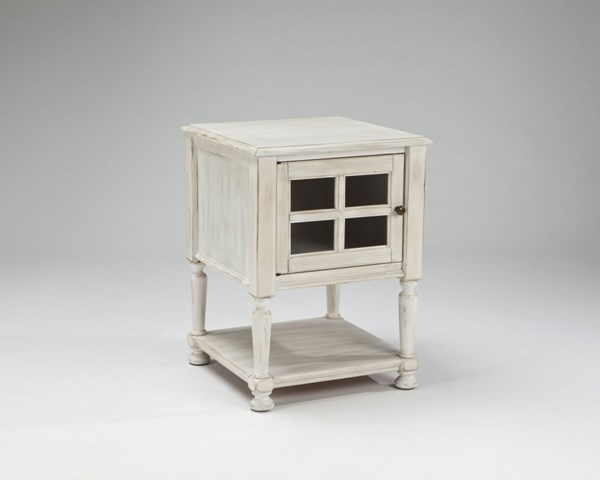 Cottage Accents Chipped White Wood Chair Side End Table T505-102