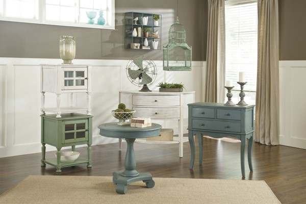 Cottage Accents Casual Green Chipped White Wood Coffee Table Set T505-OCT
