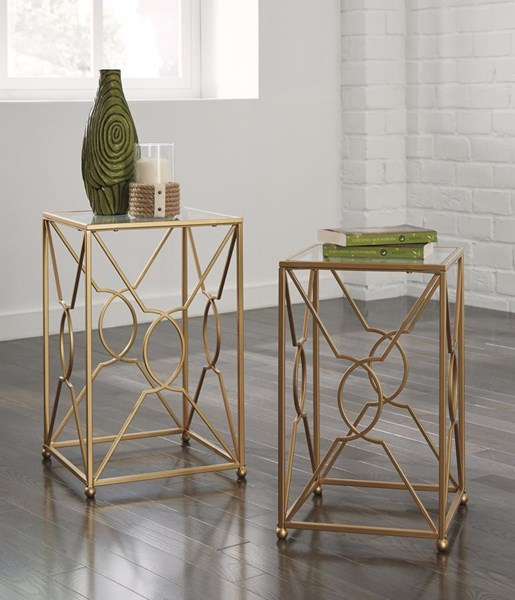Marxim Contemporary Metal Glass Nesting End Tables (2/CN) T506-111
