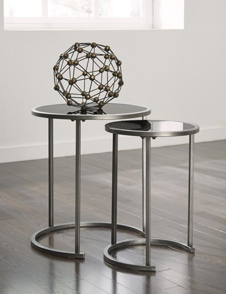 Marxim Contemporary Black Metal Glass Nesting End Tables (2/CN) T506-112