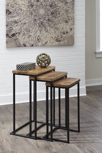 3 Marxim Contemporary Wood Metal Nesting End Tables T506-316