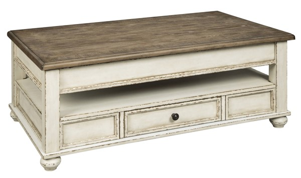Ashley Furniture Realyn White Brown Lift Top Cocktail Table T523-9