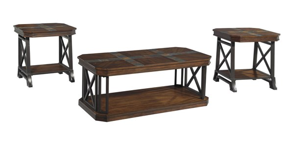 Vinasville Brown Wood Metal Occasional Table Set (3/Cn) T552-13