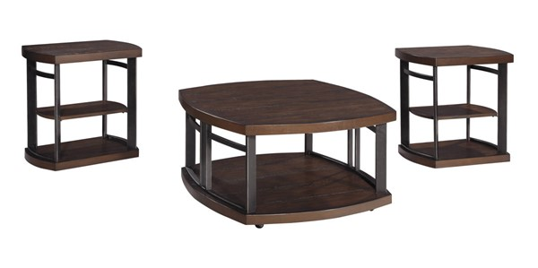 Challiman Rustic Brown Wood Metal 3-Pack Occasional Table Set T559-13