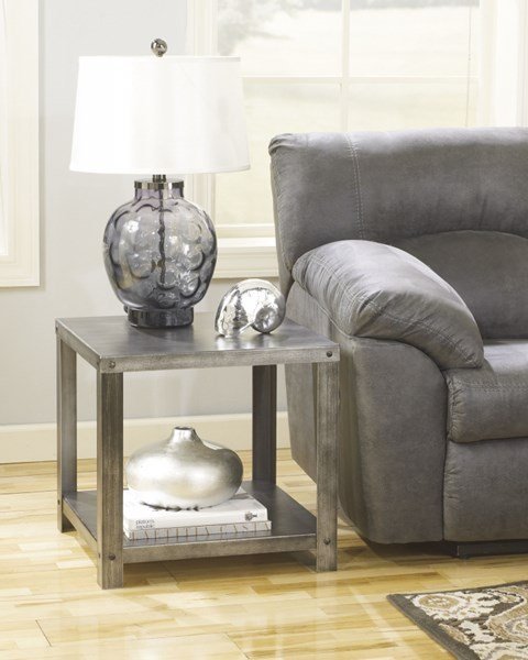 Hattney Casual Metal Square W/shleves End Table T560-2