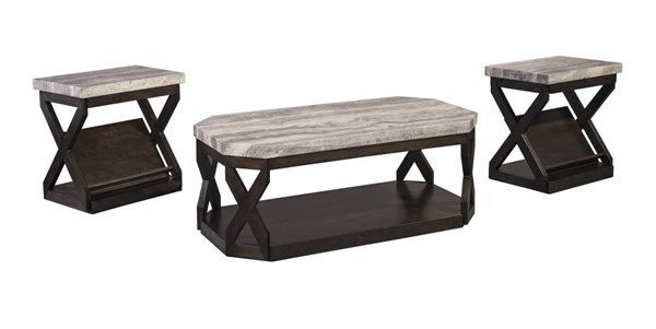 Radilyn Brown Wood PU Occasional Table Set (3/Cn) T568-13