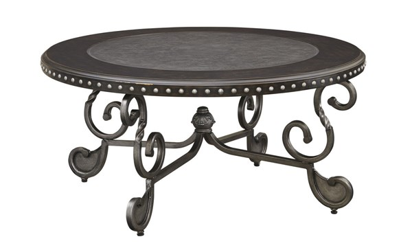 Jonidell Traditional Classics Black Metal Wood Round Cocktail Table T582-8