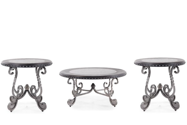 Jonidell Traditional Classics Black Metal Wood 3pc Coffee Table Set T-582-OCT-S1