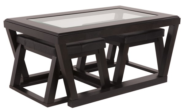 Ashley Furniture Kelton Espresso Cocktail Table with 2 Stools T592-1