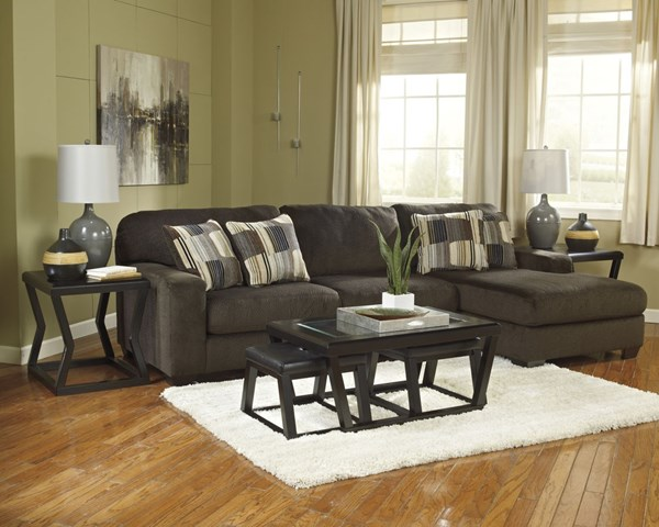 Kelton Contemporary Espresso Faux Leather Wood Glass Coffee Table Set T592