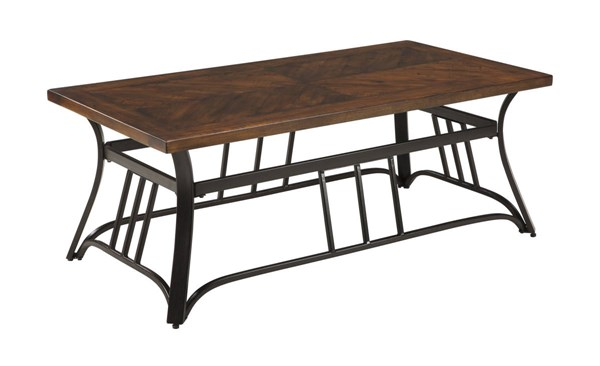 Zanilly Urban Two Tone Wood Metal Rectangular Cocktail Table T607-1