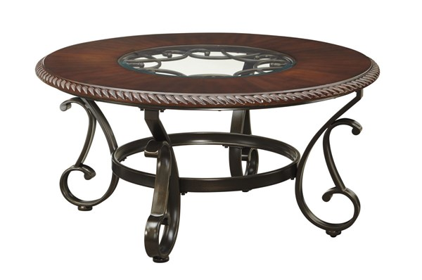 Gambrey Old World Reddish Brown Round Cocktail Table T626-8