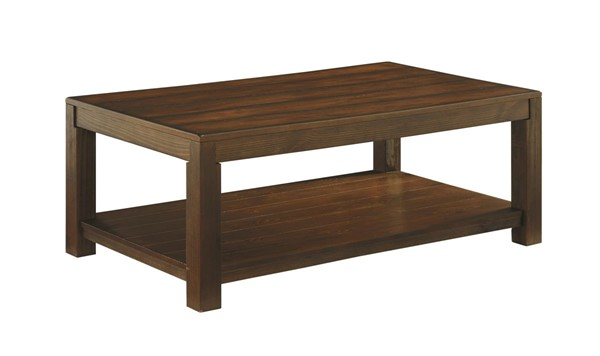 Grinlyn Rustic Brown Wood Rectangular Cocktail Table T660-1