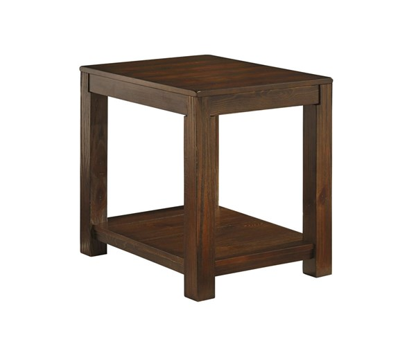 Grinlyn Rustic Brown Wood Rectangular End Table T660-3