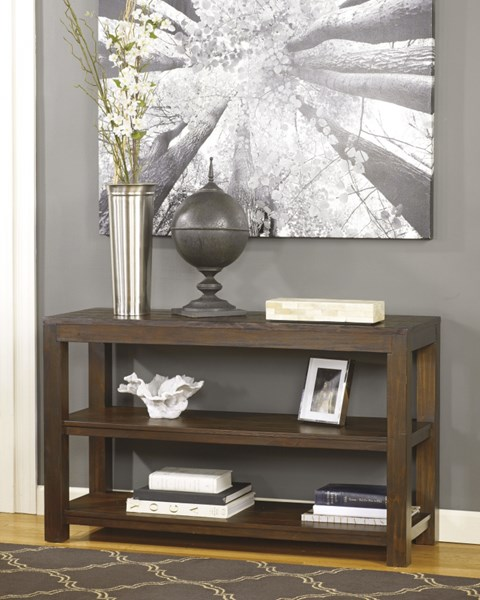 Grinlyn Casual Brown Wood Rectangle Sofa Table T660-4