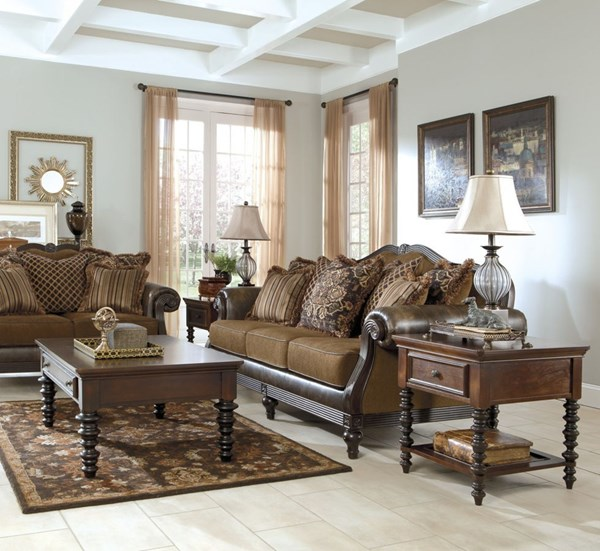 Key Town Traditional Brown Wood 3pc Coffee Table Set T668-S