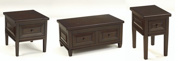 Hindell Park Rustic Brown 3Pc Coffee Table Set T695-2-CT-S