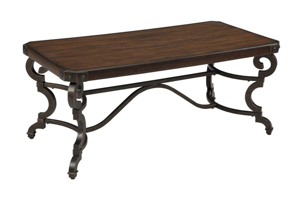 Hadelyn Casual Brown Metal Solid Wood Rectangular Cocktail Table T709-1