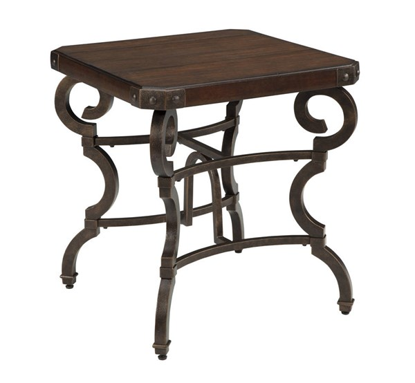 Hadelyn Casual Brown Metal Solid Wood Square End Table T709-2