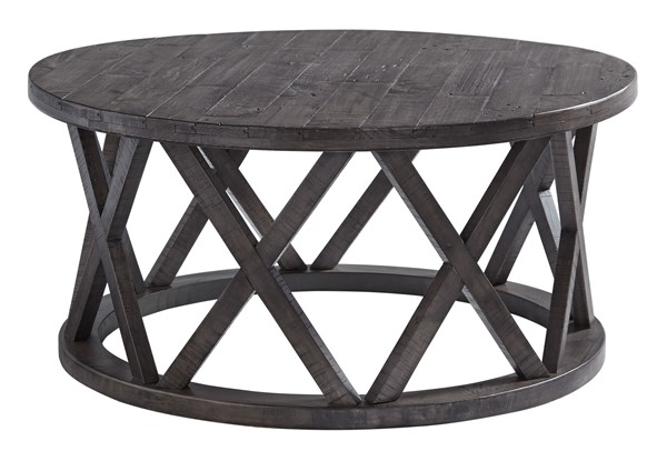 Ashley Furniture Sharzane Grayish Brown Round Cocktail Table T711-8