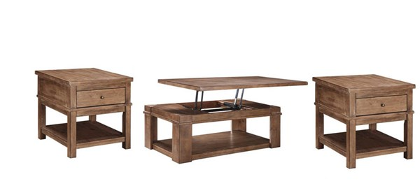 Pinnadel Vintage Casual Light Brown Wood 3pc Coffee Table
