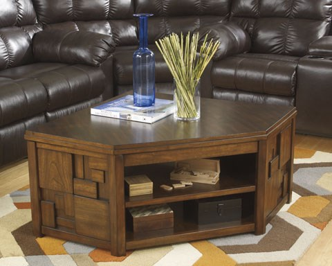 Barstrom Contemporary Brown Wood Corner Lift Top Cocktail