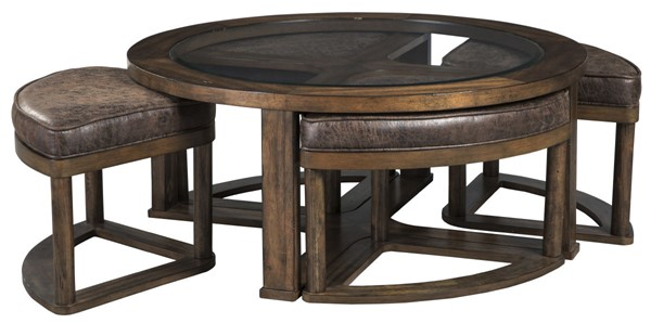 Ashley Furniture Hannery Cocktail Table With 4 Stools T725-8