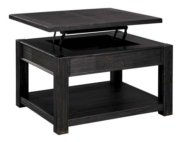 Ashley Furniture Gavelston Black Rectangle Lift Top Cocktail Table T732-0